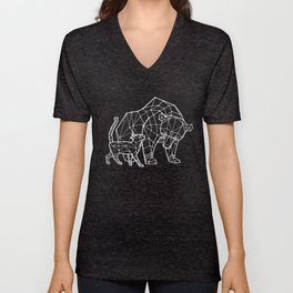 LowPoly Bear & Cat ( White ) Unisex V-Neck