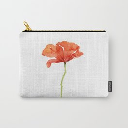 Red Poppy Flower Watercolor Carry-All Pouch