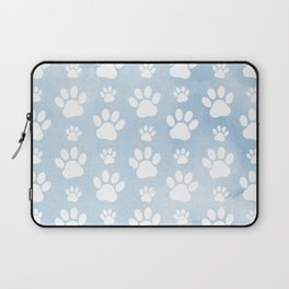Dog Paws, Traces, Animal Paws, Watercolors - Blue Laptop Sleeve