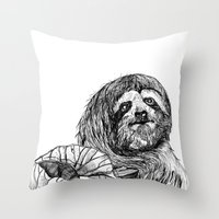 sloth Throw Pillows featuring sloth by ARI(Sunha Jung)