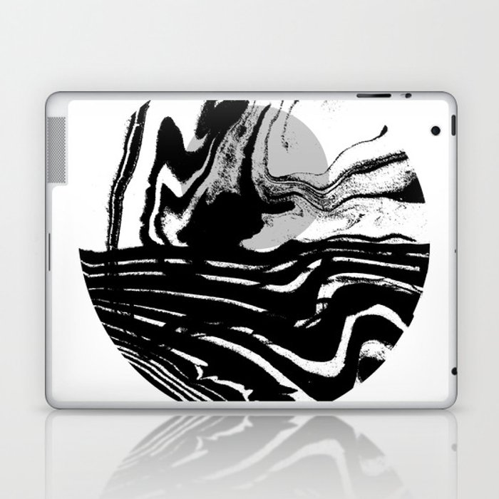 Marble spilled ink suminagashi minimal black and white dorm college outer space marbling Laptop & iPad Skin