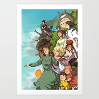 ghibli Art Prints featuring Ghibli by DustyLeaves
