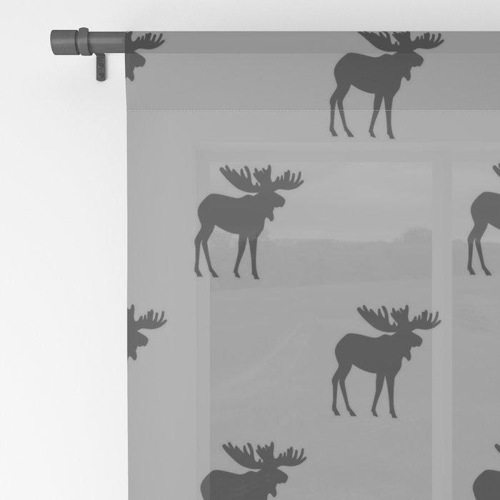 Bull Moose Silhouette - Black on Gray Sheer Curtain