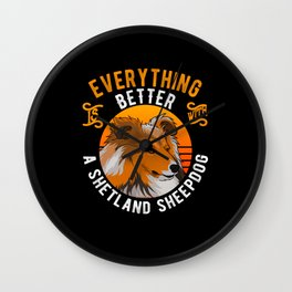 Sheltie Dog Owner Gift Idea Funny Wall Clock