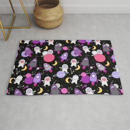 Purple Pink Cat Astronaut Outer Space Pattern Rug