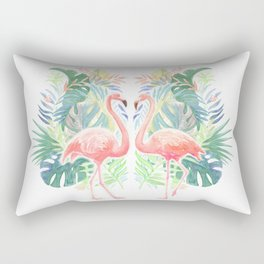 Lovely Fairy Tale For Two Flamingo Watercolor Illustration Rectangular Pillow