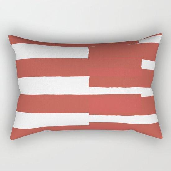 Big Stripes In Red Rectangular Pillow