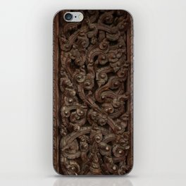 Ancient wooden carving iPhone Skin