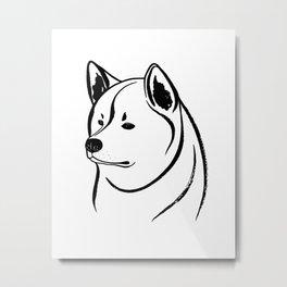 Akita Inu (Black and White) Metal Print