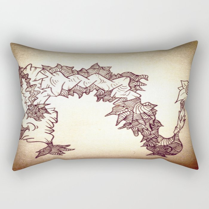 Caterpillar Brain Spit Ink Doodle Rectangular Pillow