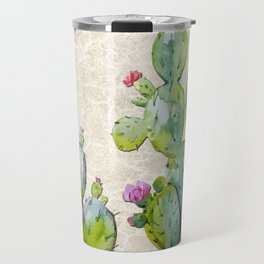 Water Color Prickly Pear Cactus Adobe Background Travel Mug