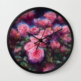 Out of Dust, impressionist pink roses Wall Clock