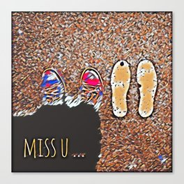 Miss You - Colorful Mosaic Canvas Print