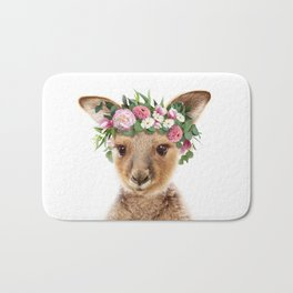 Baby Kangaroo With Flower Crown, Baby Animals Art Print By Synplus Bath Mat