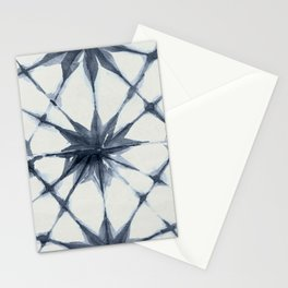 Shibori Starburst Indigo Blue on Lunar Gray Stationery Cards