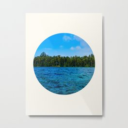 Mid Century Modern Round Circle Photo Caribbean Paradise Green Palm Trees Clear Blue Waters Metal Print