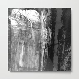 Ghost Town // black and white abstract ink painting Metal Print