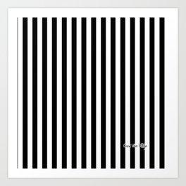 Halloween Stripes Black and White Art Print