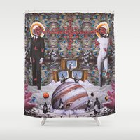 teen titans Shower Curtains featuring Clash of the Titans by George Bogiatzidis(Boya)