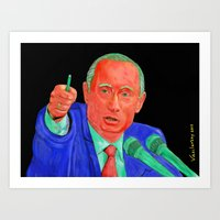 putin Art Prints featuring Red Putin by Sam Vasilevsky