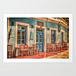Pastel Cafe Peloponnese Greece Art Print