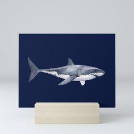 WHITE SHARK (navy blue) Mini Art Print