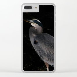 Heron at night Clear iPhone Case