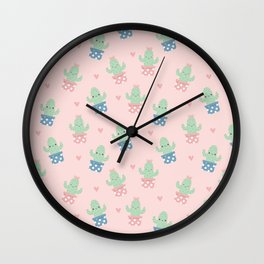 Happy cactus pattern Wall Clock