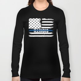 IL Illinois State Police Gift for Policeman, Cop or State Trooper Thin Blue Line Long Sleeve T-shirt
