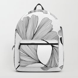 Gingko black and white line drawing Backpack