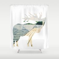 elk Shower Curtains featuring Elk. by Wooden Wolves