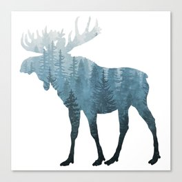 Misty Forest Moose Canvas Print