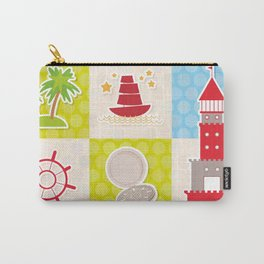 Card pirate design. Cute party invitation colorful background seamless pattern. lighthouse compass Carry-All Pouch