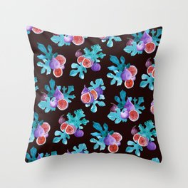 Watercolor Figs Fruit and Leaves Throw Pillow