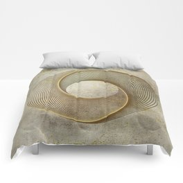Geometrical Line Art Circle Distressed Gold Comforters