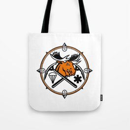 Angry Moose Crossed Ice Pick Axe Pararescue Mascot Tote Bag