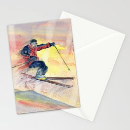 Colorful Skiing Art Stationery Cards