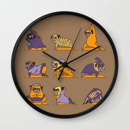 Pug Yoga Halloween Monsters Wall Clock