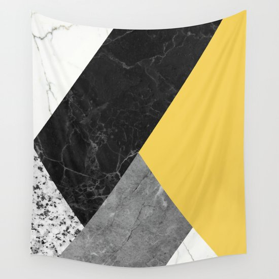 black and white marbles and pantone primrose yellow color