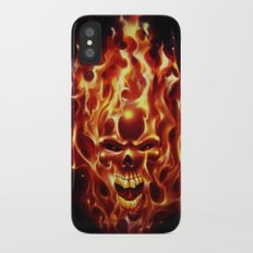 Flaming Skull iPhone X Slim Case