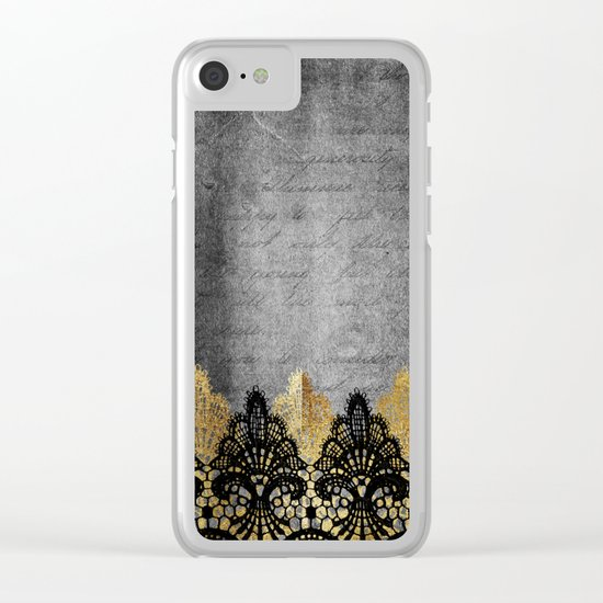 Pure elegance II - Luxury Gold and black lace on grunge dark backround Clear iPhone Case
