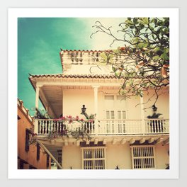 Colourful Summer Old House (Retro and Vintage Urban, architecture photography) Art Print