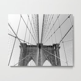 BROOKLYN BRIDGE IN BLACK AND WHITE Metal Print