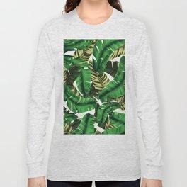 Swaying banana leaf palm green Long Sleeve T-shirt