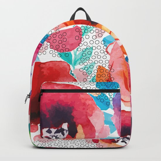 Watercolor flowers and circles Backpack