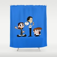 lab Shower Curtains featuring Dexter's Killing Lab by Nana Leonti