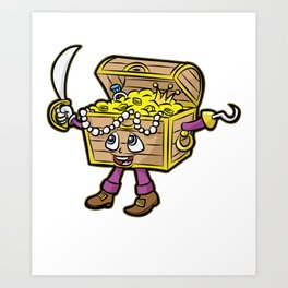 PIRATE TREASURE CHEST saber hook cartoon gift Art Print