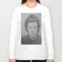 1d Long Sleeve T-shirts featuring Harry Styles -1D by Brooke Shane