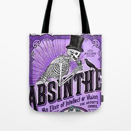 Vintage 1871 Purple Absinthe Liquor Skeleton Elixir Aperitif Cocktail Alcohol Advertisement Poster Tote Bag