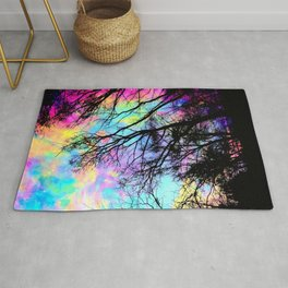 Black Trees Colorful space. Rug